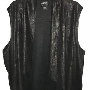Great black draped vest with metallic sheen